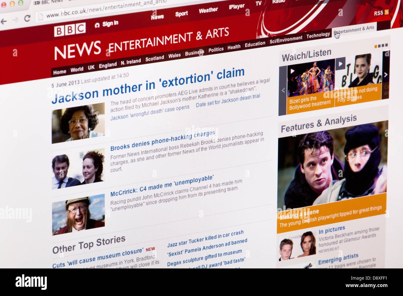 BBC News Entertainment and Arts Home Page Website or web page on a laptop screen or computer monitor - Stock Image