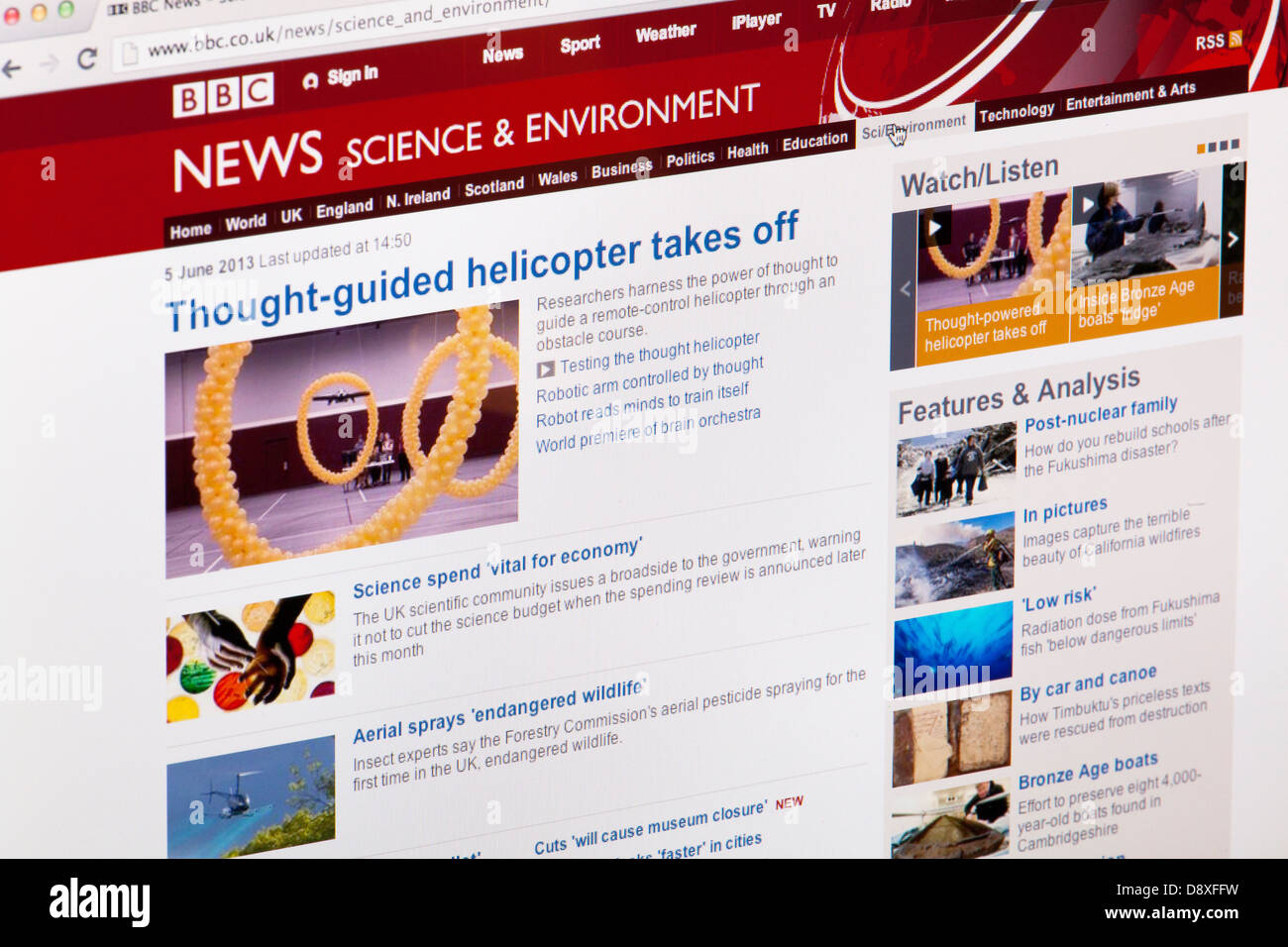 BBC News Science and Environment home page website or web page on a laptop screen or computer monitor - Stock Image