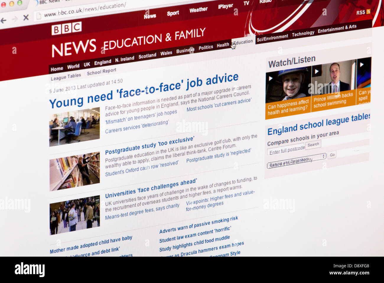 BBC News Education and family home page Website or web page on a laptop screen or computer monitor - Stock Image