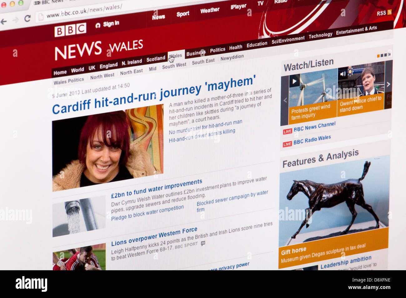 BBC News Wales home page Website or web page on a laptop screen or computer monitor - Stock Image