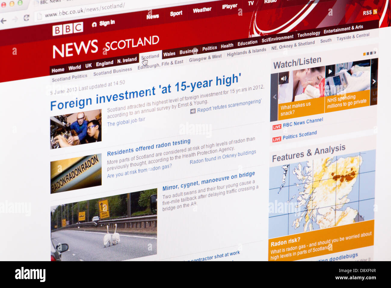 BBC News Scotland home page Website or web page on a laptop screen or computer monitor - Stock Image