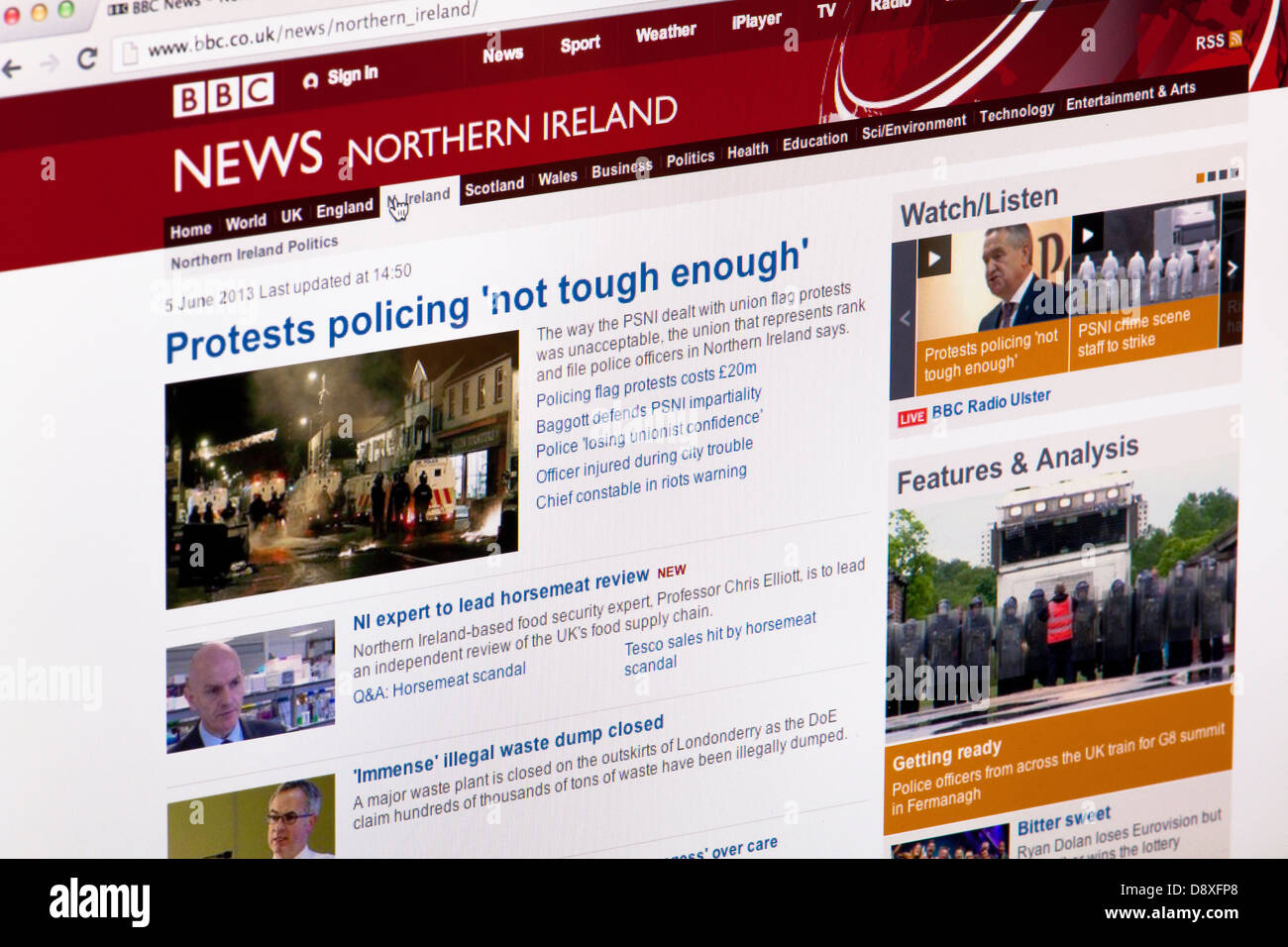 BBC News Northern Island home page website or web page on a laptop screen or computer monitor - Stock Image