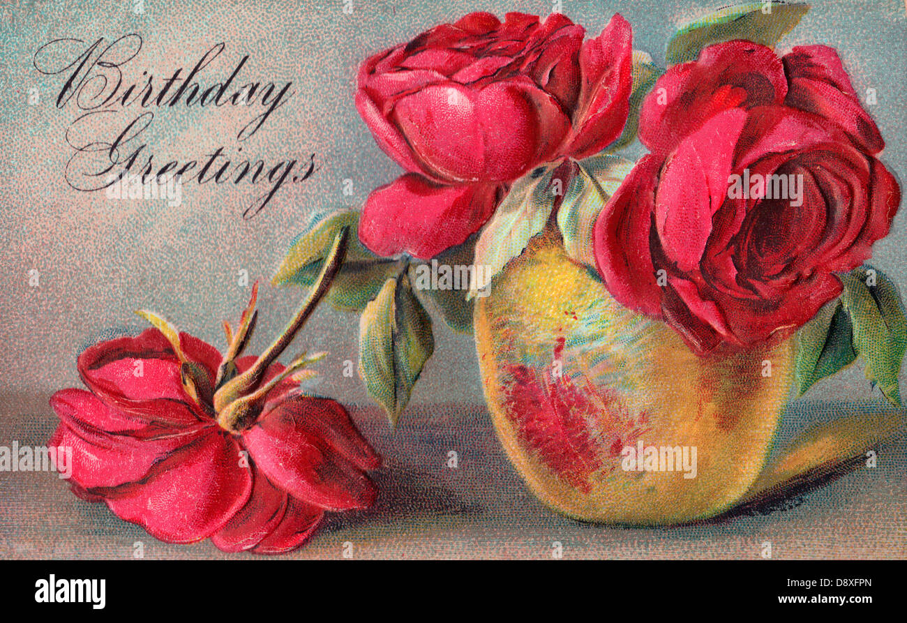 Birthday Greetings Vintage Card Flowers Stock Photos Birthday