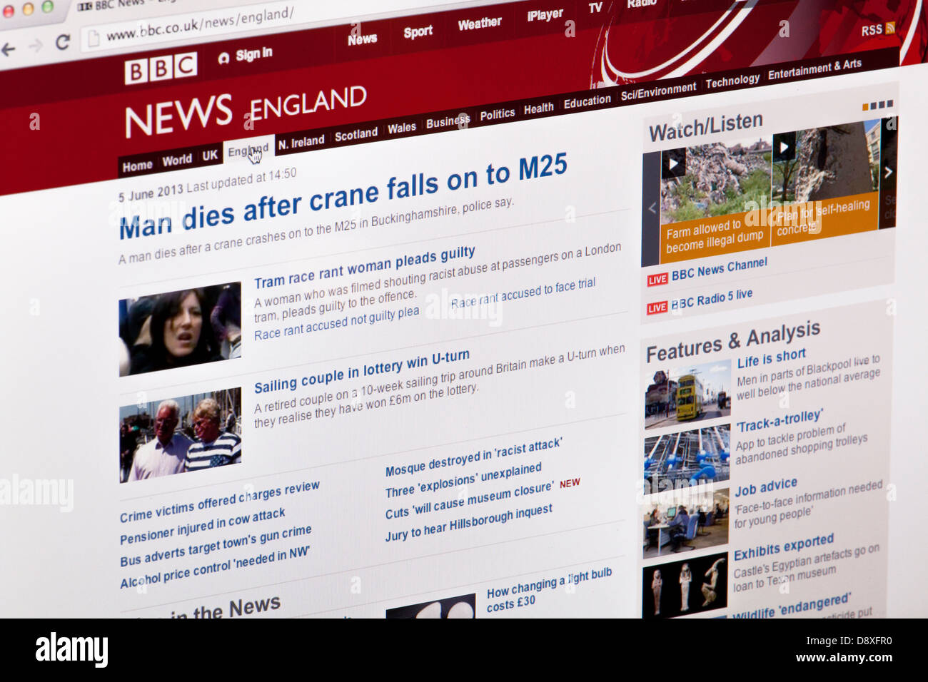 BBC news England Website or web page on a laptop screen or computer monitor - Stock Image