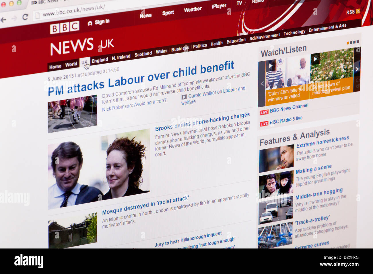 BBC news UK home page Website or web page on a laptop screen or computer monitor - Stock Image