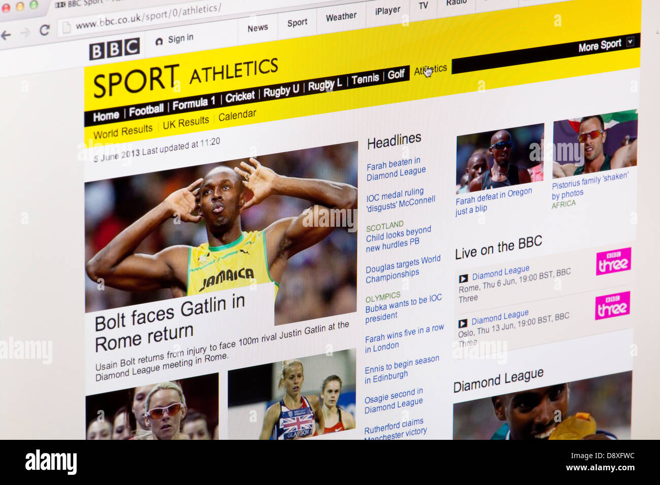 BBC Sport Athletics homepage Website or web page on a laptop screen or computer monitor - Stock Image