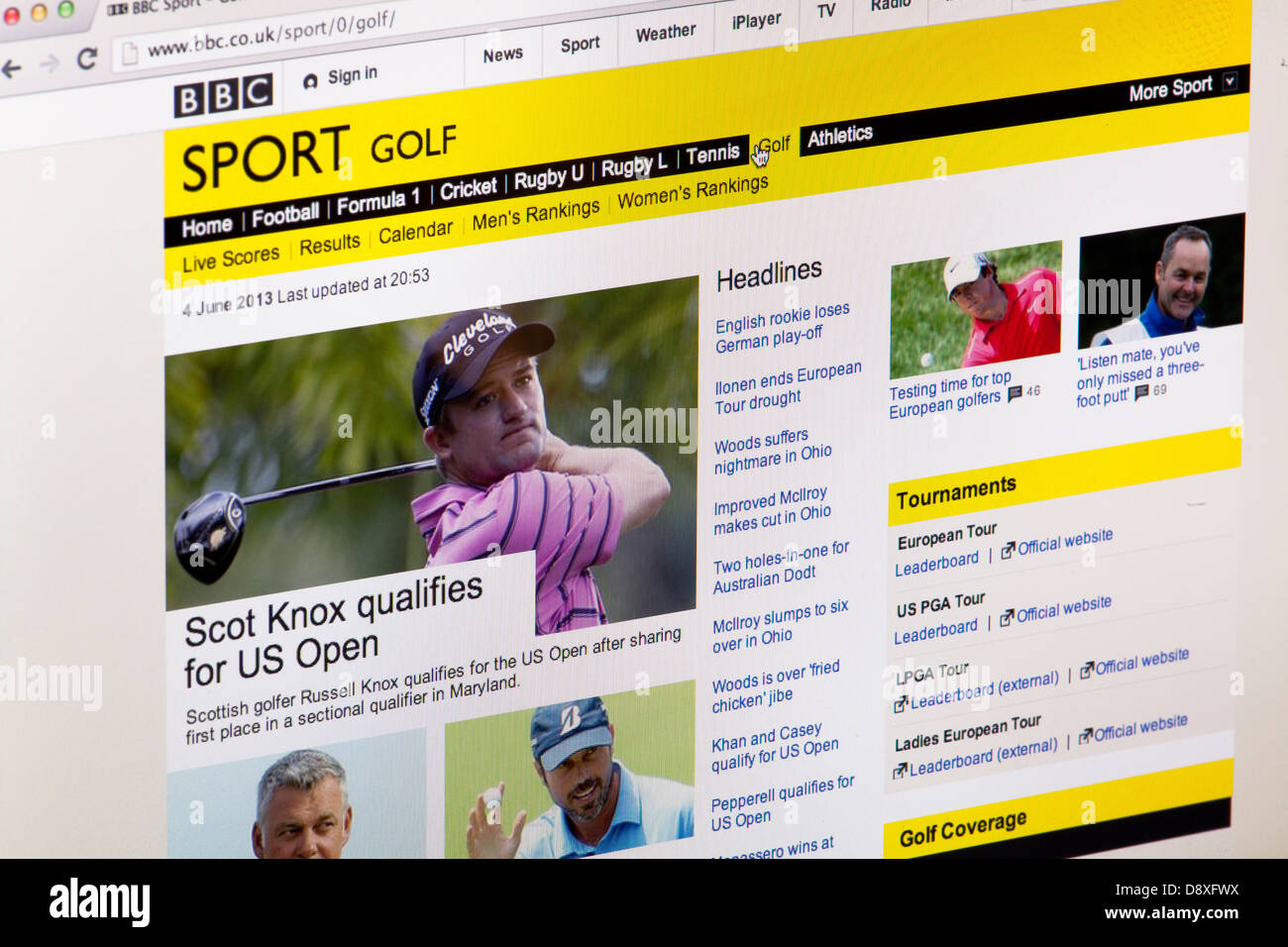 BBC Sport Golf News Homepage Website or web page on a laptop screen or computer monitor - Stock Image