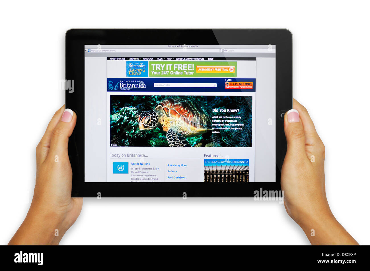 Encyclopaedia Britannica  website on iPad - Stock Image