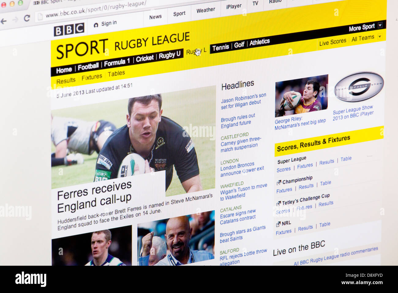 BBC Sport Rugby League home page Website or web page on a laptop screen or computer monitor - Stock Image