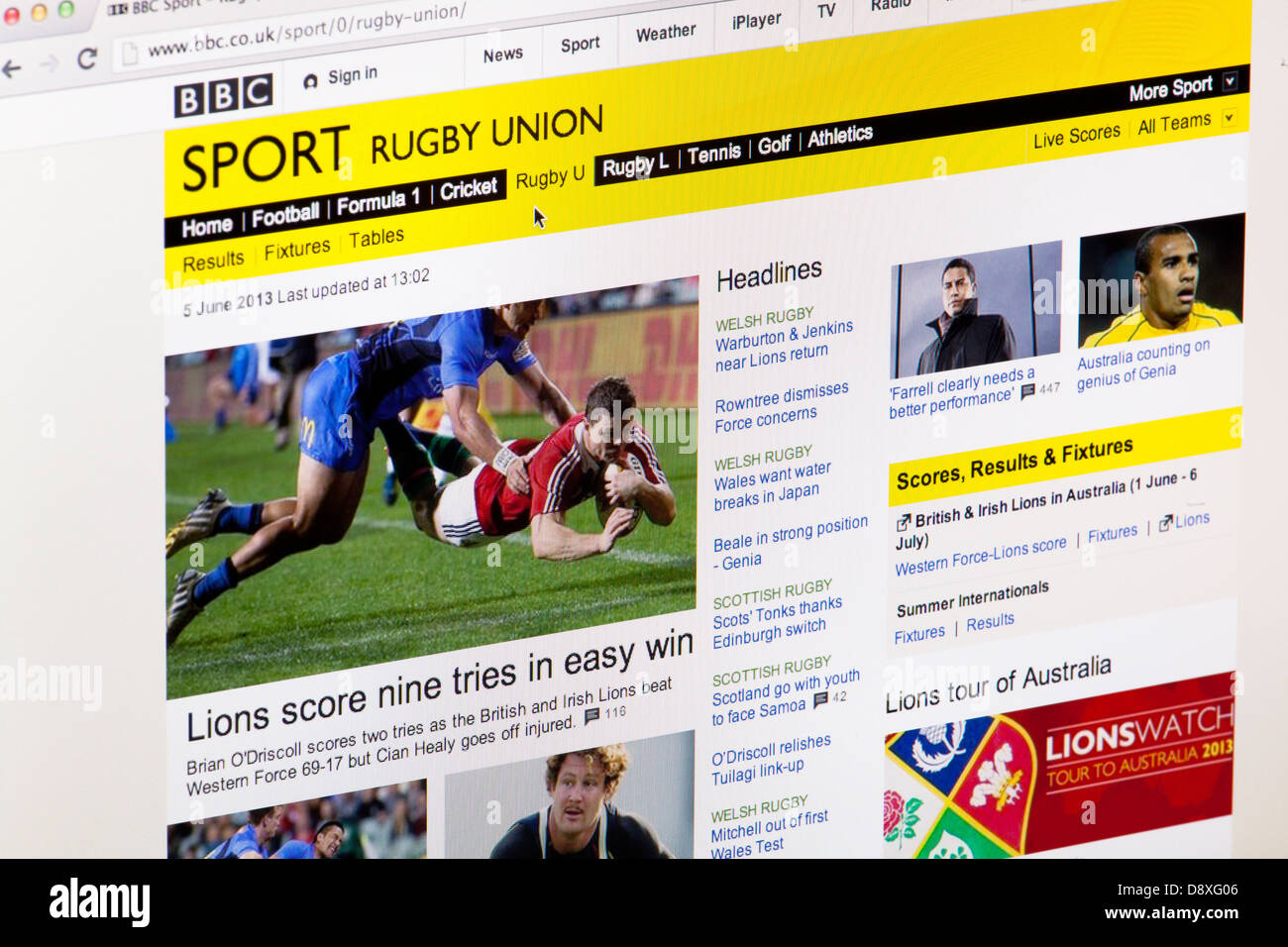 BBC Sport Rugby Union home page Website or web page on a laptop screen or computer monitor - Stock Image