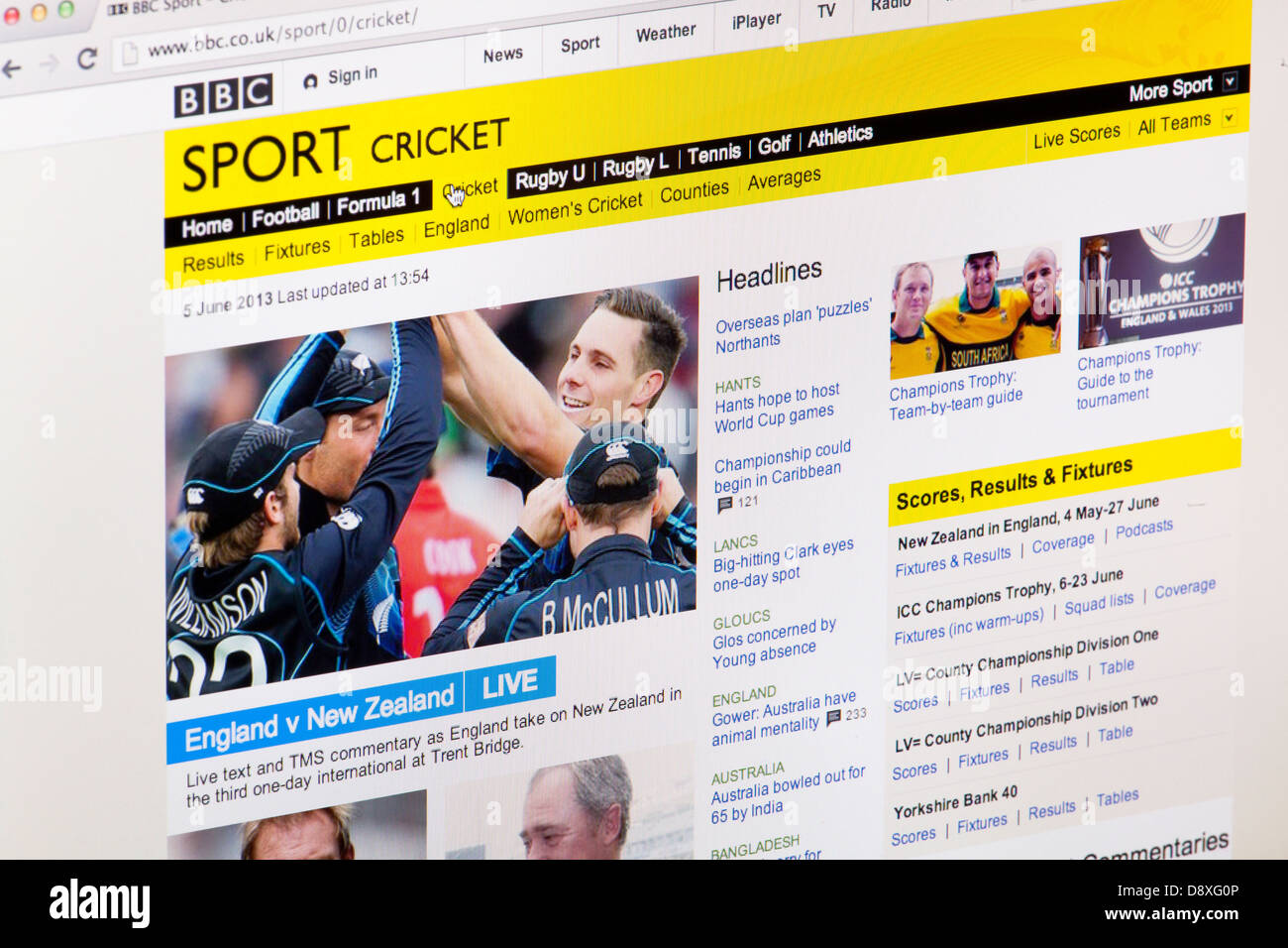 BBC Sport Cricket Home Page Website or web page on a laptop screen or computer monitor - Stock Image