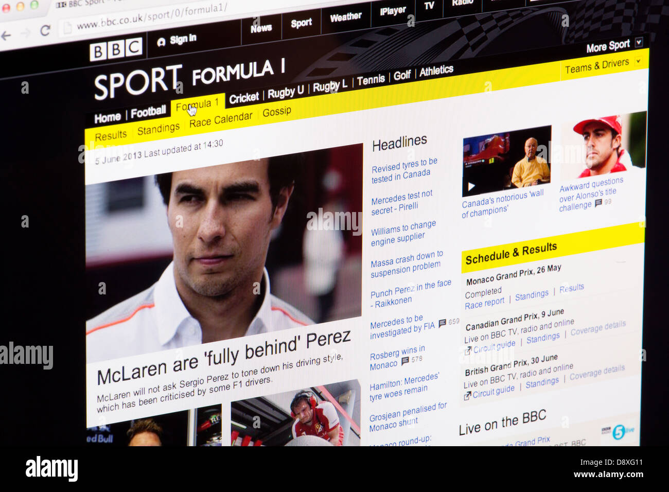 BBC Sport Formula One 1 Website or web page on a laptop screen or computer monitor - Stock Image