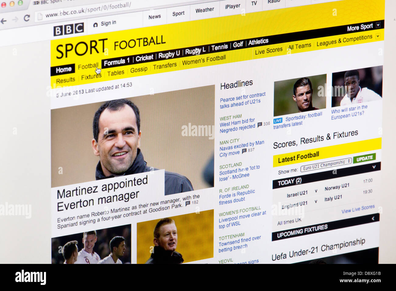 BBC Sport Football Homepage Website or web page on a laptop screen or computer monitor - Stock Image
