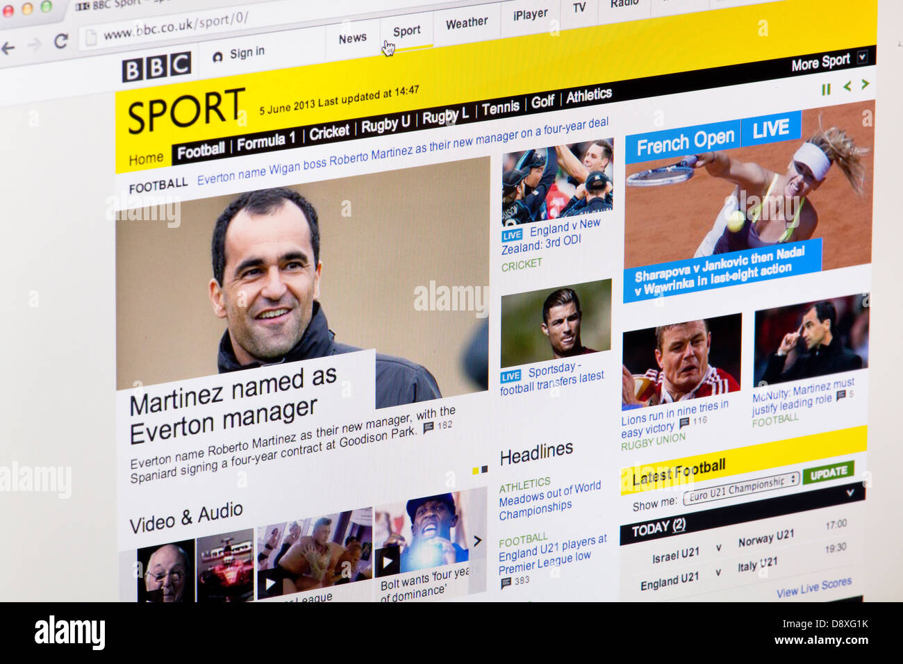 BBC Sport homepage Website or web page on a laptop screen or computer monitor - Stock Image