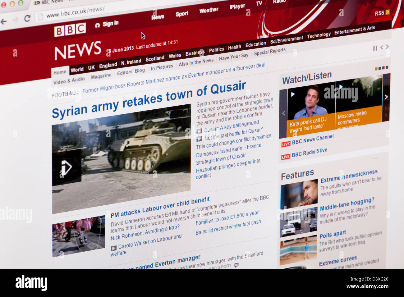BBC News homepage Website or web page on a laptop screen or computer monitor - Stock Image