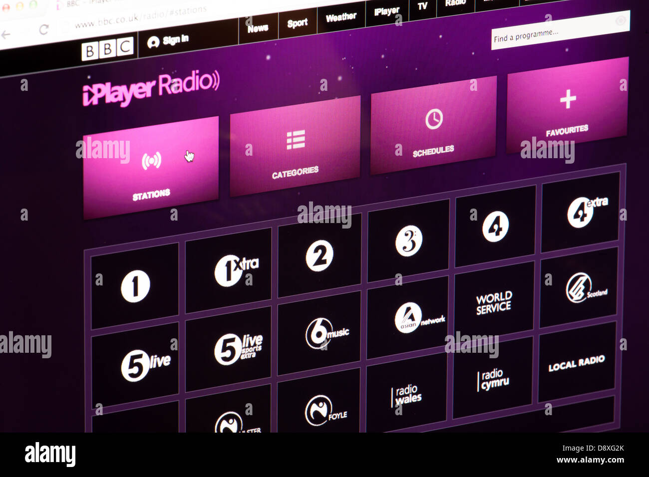BBC iPlayer Radio Channels Website or web page on a laptop screen or computer monitor - Stock Image