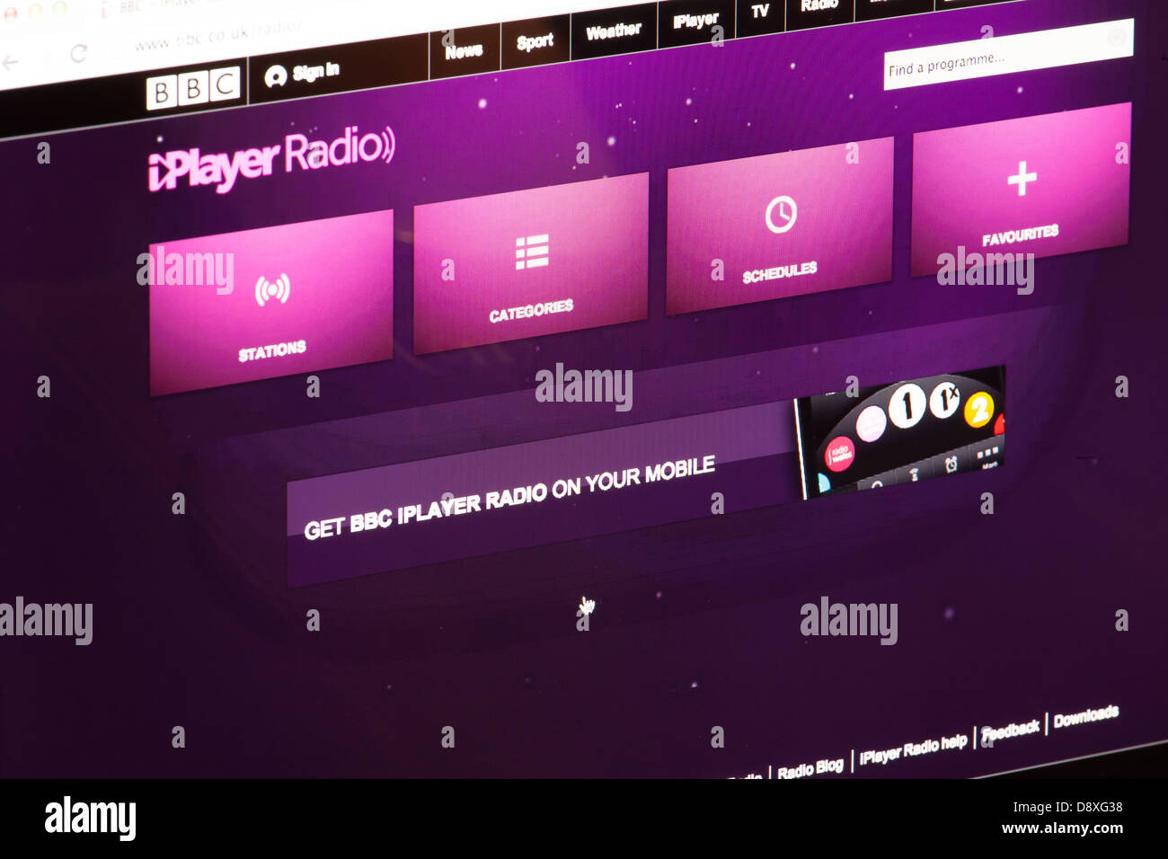 BBC iPlayer radio Website or web page on a laptop screen or computer monitor - Stock Image