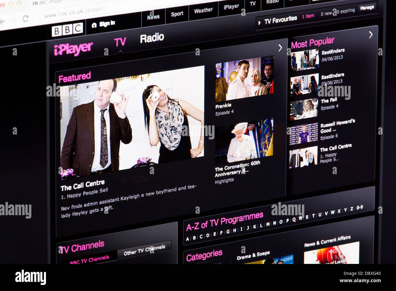 BBC iPlayer TV and Radio Streaming Website or web page on a laptop screen or computer monitor - Stock Image