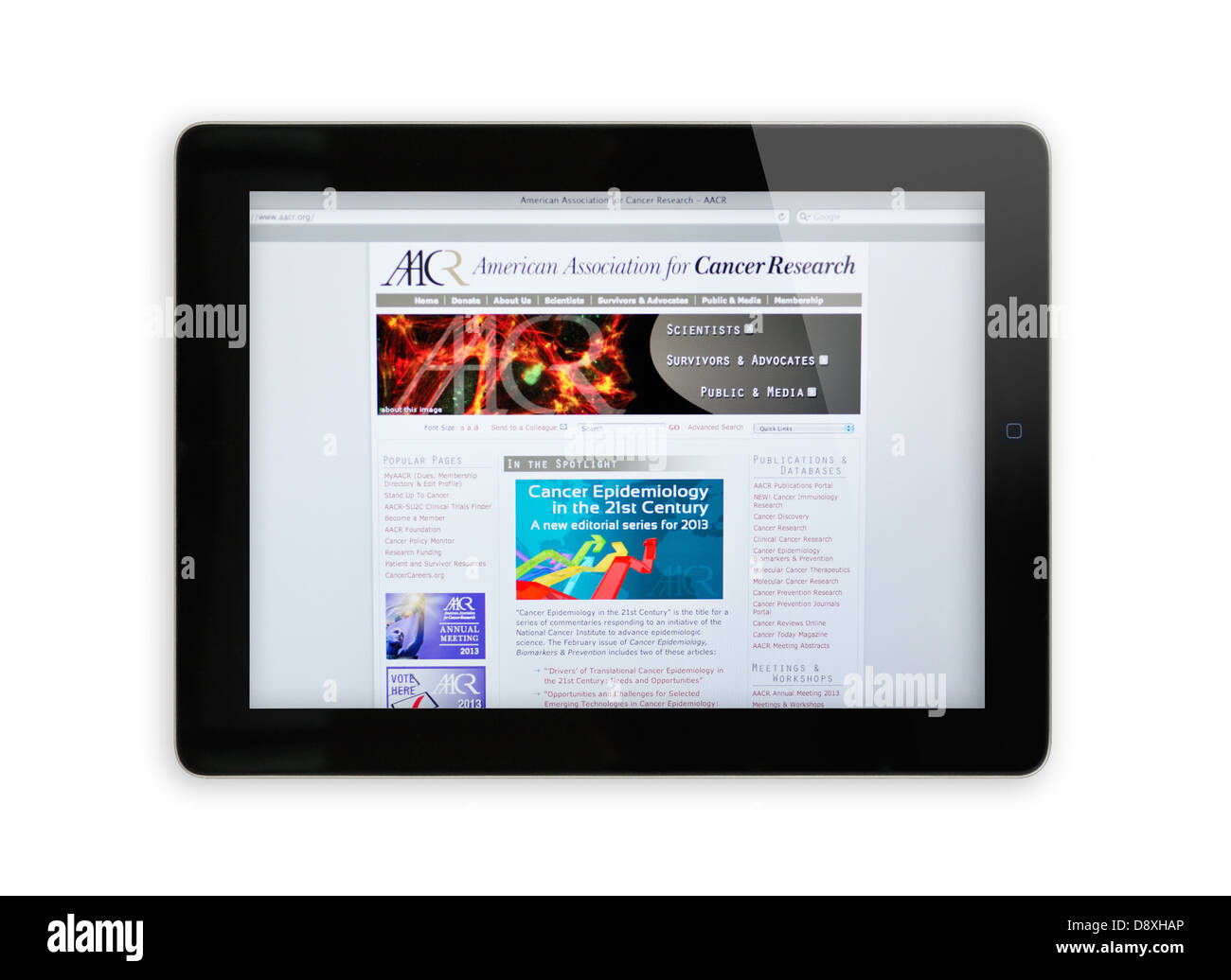 American Association for Cancer Research website on iPad - Stock Image