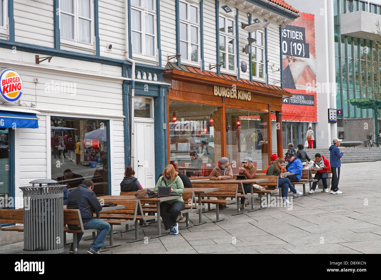 Burger King Restaurant in Stavanger Norway with ships passengers and crew using their free WIFI Stock Photo