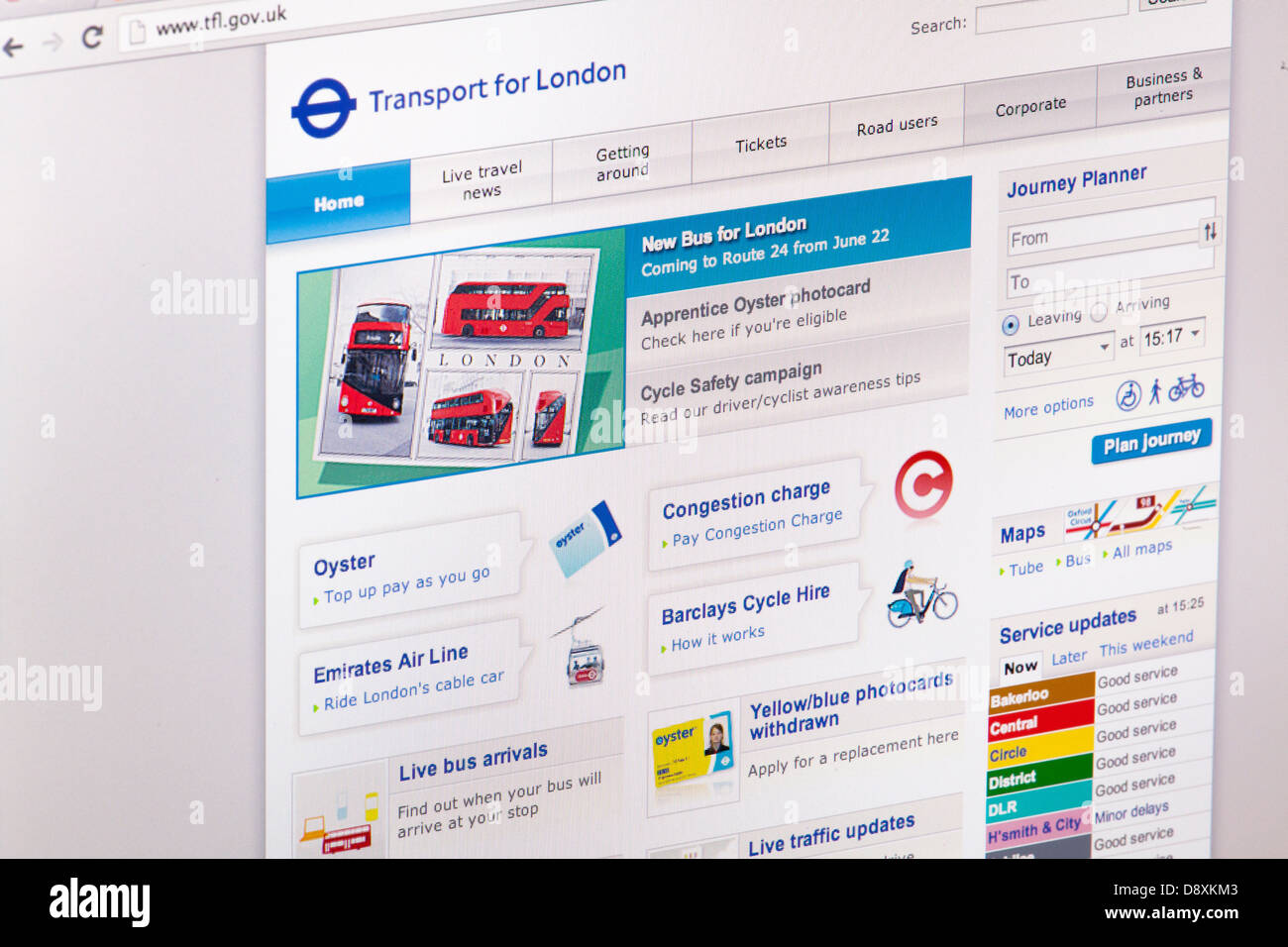 The Transport for London TFL Website or web page on a laptop screen or computer monitor - Stock Image