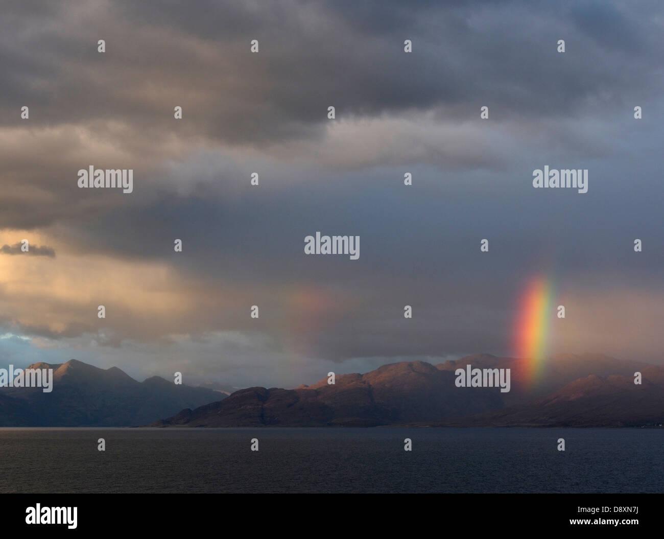 Rainbow over Knoydart from Sabhal Mor Ostaig, Sleat peninsula, Skye, Scotland Stock Photo