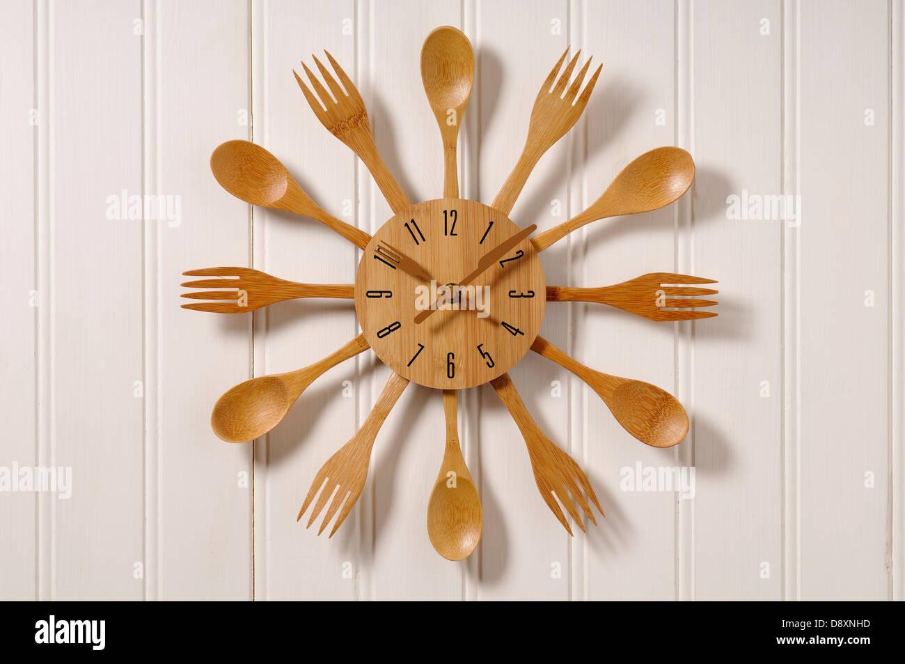 Clock Made Wooden Cutlery Stock Photos & Clock Made Wooden
