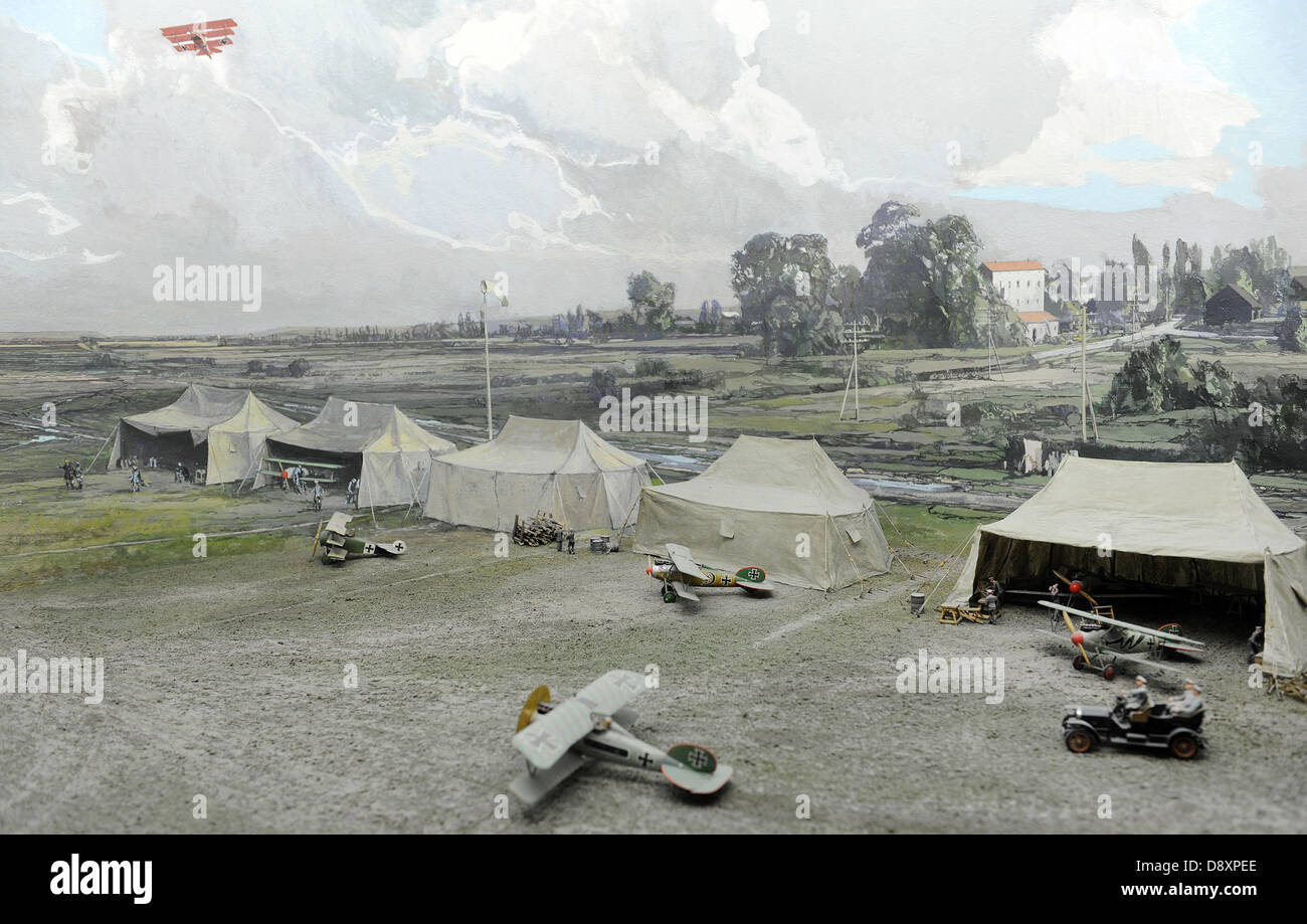 Operational airfield in World War I. Diorama showing an operational airfield. Deutches Museum. Munich. Germany. - Stock Image
