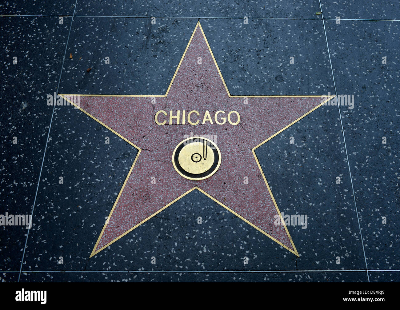Terrazzo star for artists Chicago, category Music, Drumming of Fame, Hollywood boulevard, Hollywood, Los Angeles, - Stock Image