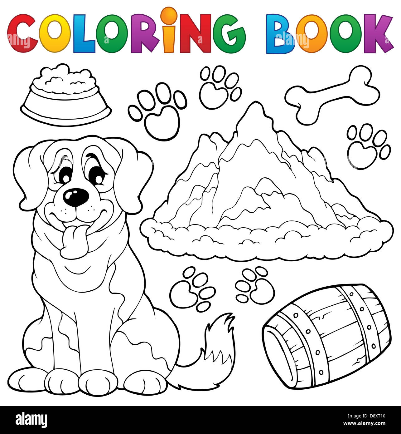 Coloring book dog theme 7 - picture illustration Stock Photo ...