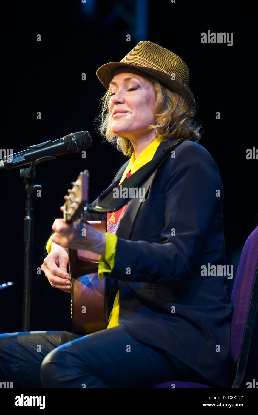 Cerys Matthews Welsh singer songwriter DJ & author performing on stage at Hay Festival 2013 Hay on Wye Powys - Stock Image