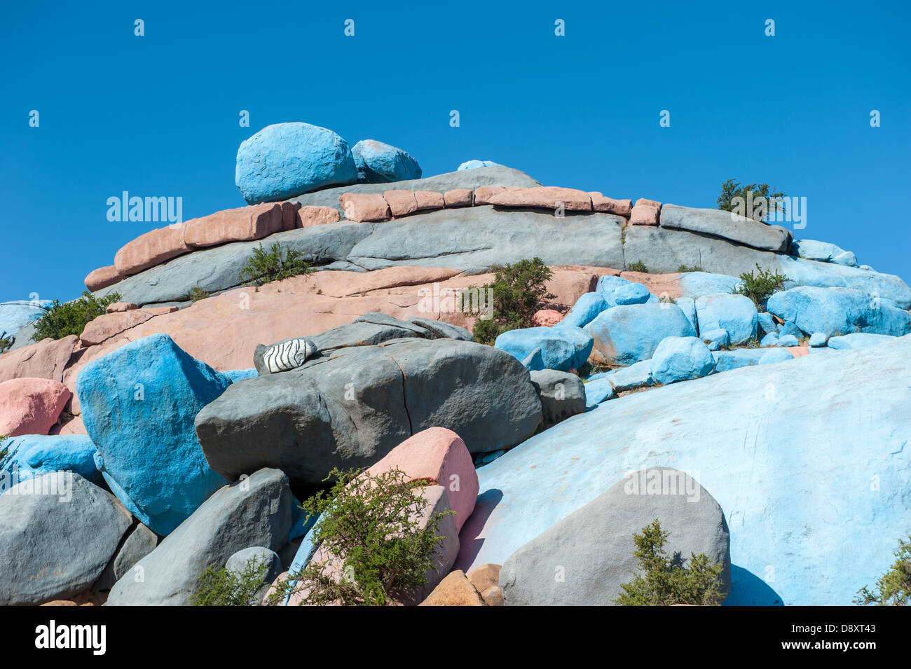 Painted Rocks, Tafraoute, Morocco - Stock Image