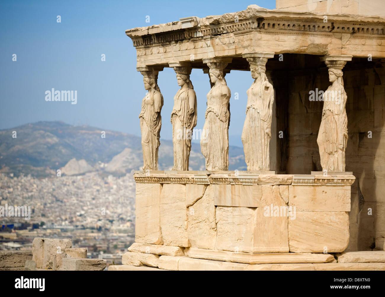 The Caryatid porch of Erechtheion, Acropolis, Athens, Greece, Europe - Stock Image