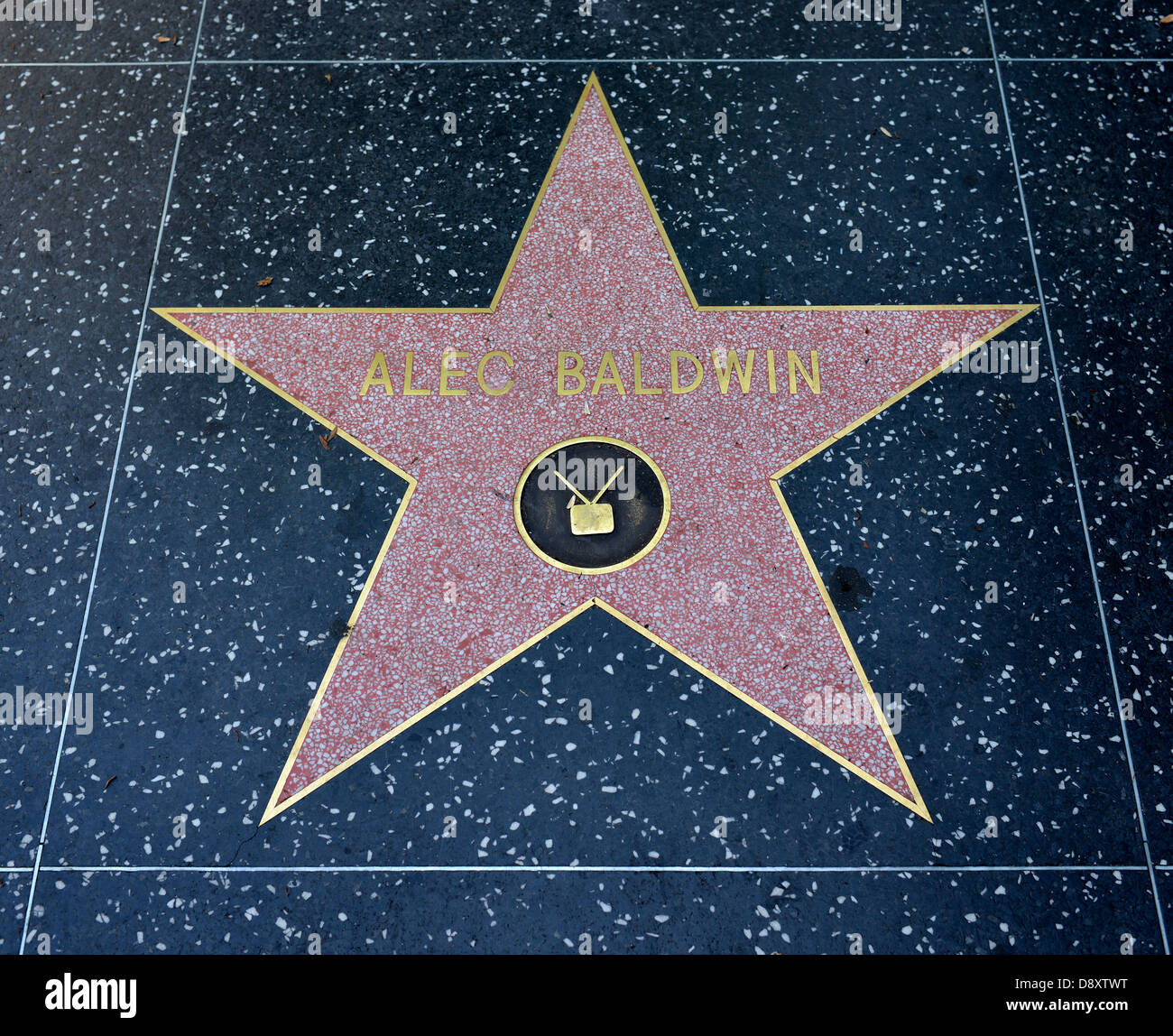 Terrazzo star for artists Alec Baldwin, category Television, Drumming of Fame, Hollywood boulevard, Hollywood, Los - Stock Image