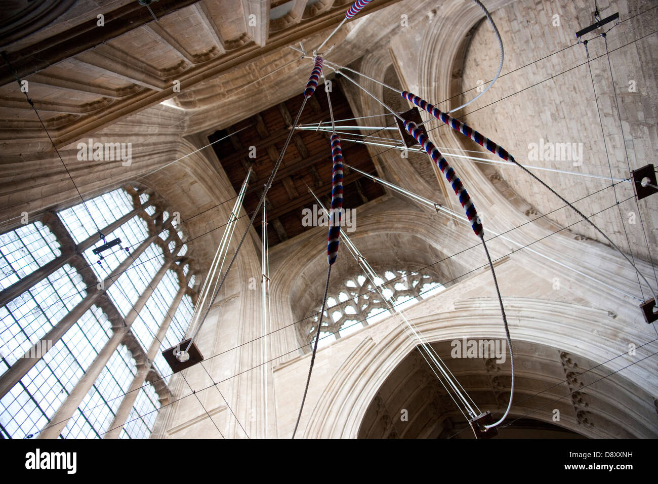 Bell Ringing Ropes Tower Crowland Abbey - Stock Image