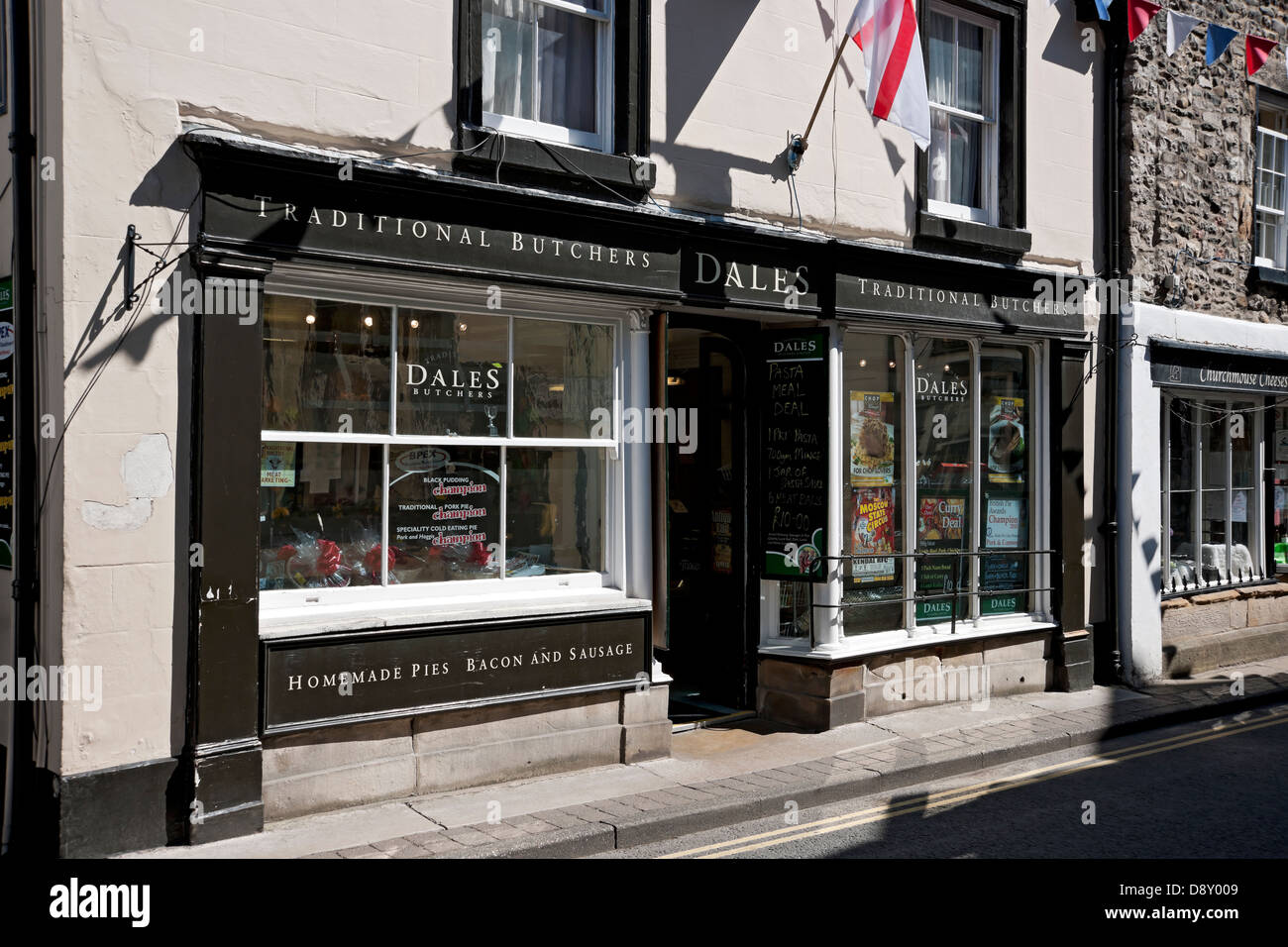 Traditional butchers shop Main Street Kirkby Lonsdale Cumbria England UK United Kingdom GB Great Britain - Stock Image
