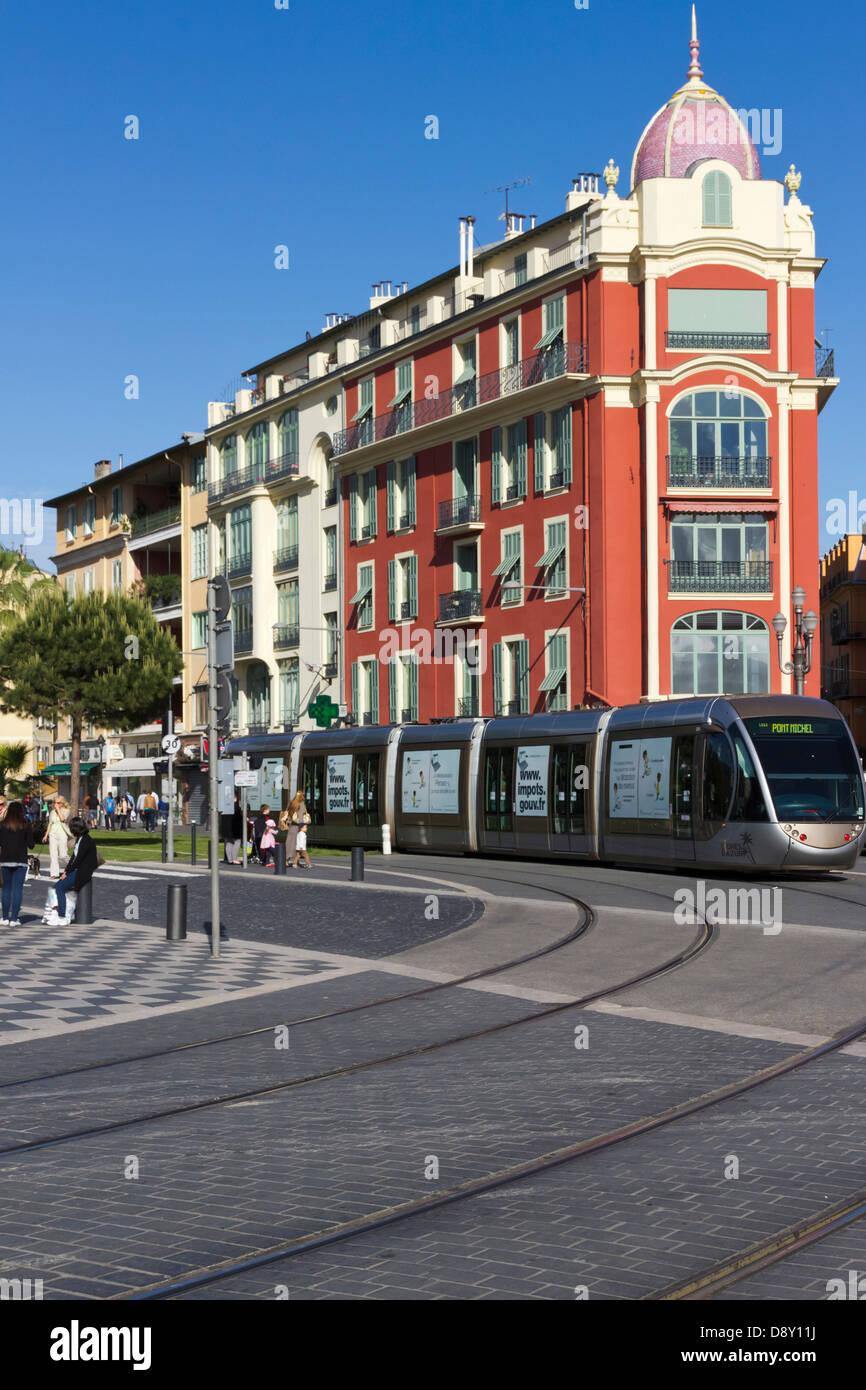 Tram at Place Massena Nice Provence France - Stock Image