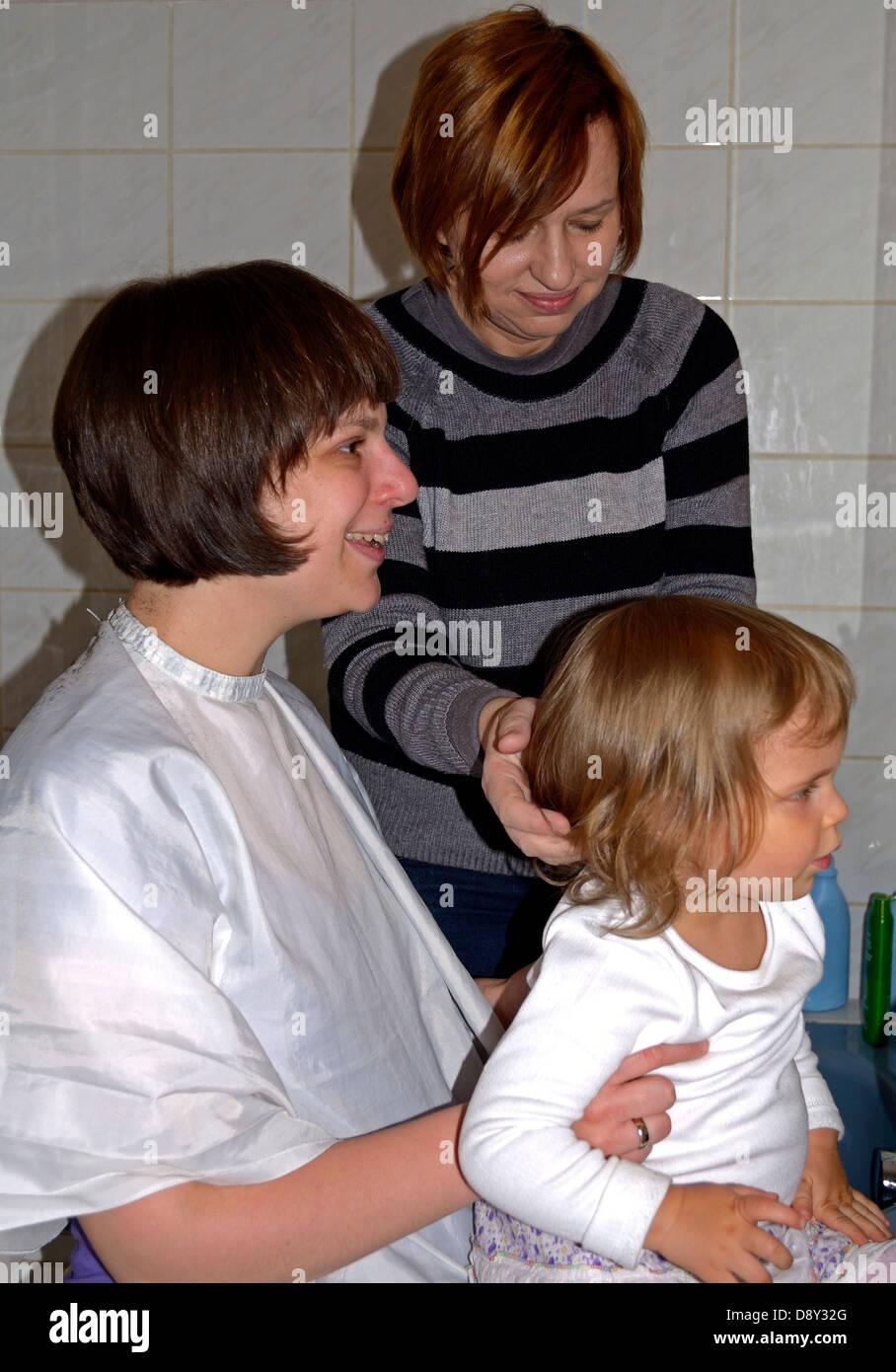 Baby Having First Hair Cut Stock Photos Baby Having First Hair Cut