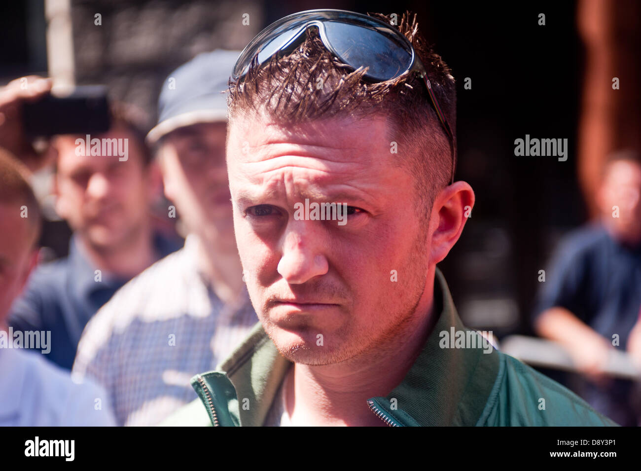 London, UK. 6th June 2013. English Defence League (EDL) leader Tommy Robinson releases interviews to the media during - Stock Image