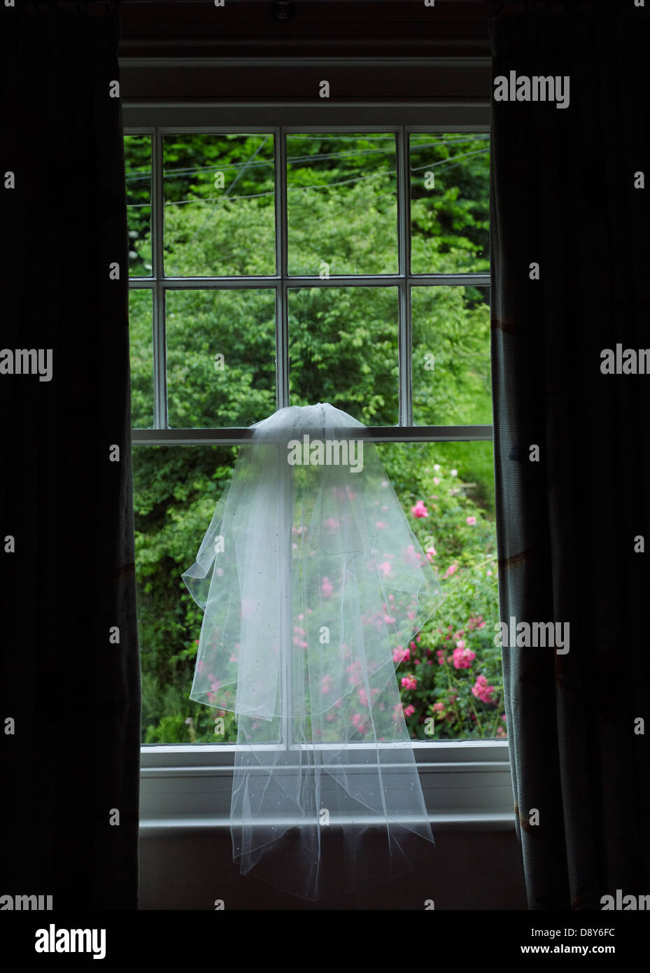 A wedding veil hung from a window overlooking a green garden. - Stock Image