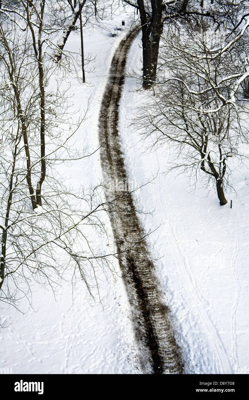 Walking path in the winter, seen from above. Stock Photo
