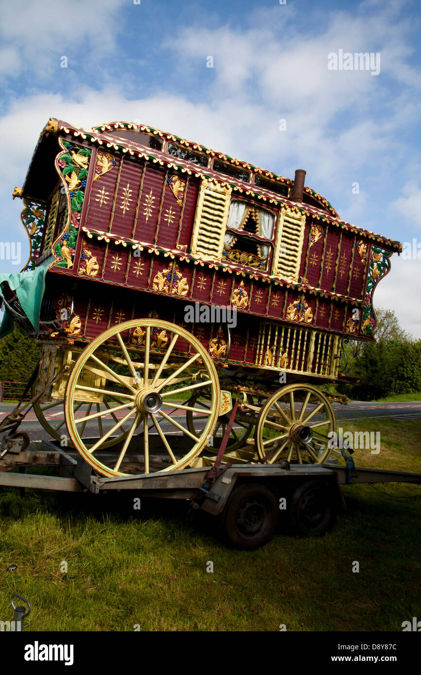Appleby, Cumbria, Uk. 6th June, 2013.  Finely decorated Vardo or Bow Top wagon, rural trailer home,  en-route to Stock Photo