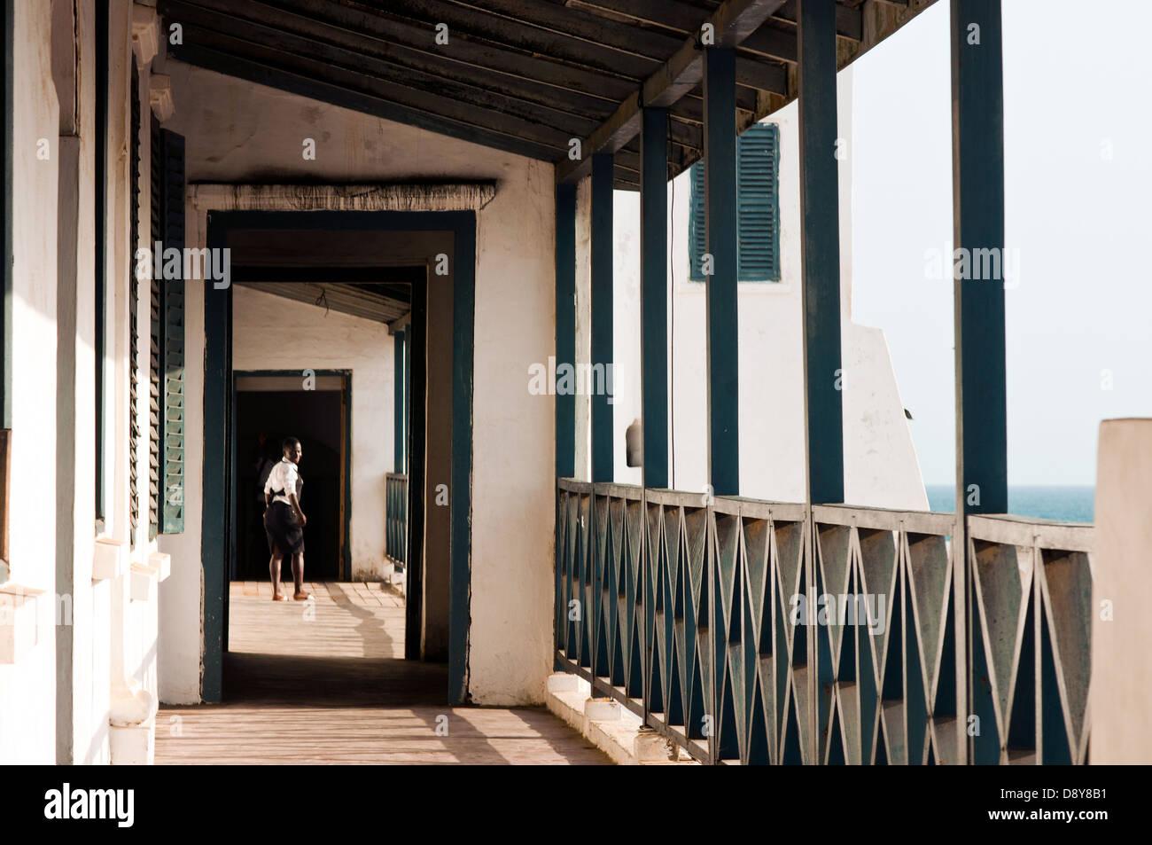 school children on passage way, cape coast castle, cape coast, ghana, africa - Stock Image