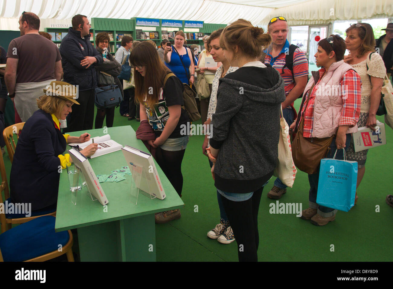 Cerys Matthews book signing for fans in the bookshop at Hay Festival 2013 Hay on Wye Powys Wales UK - Stock Image