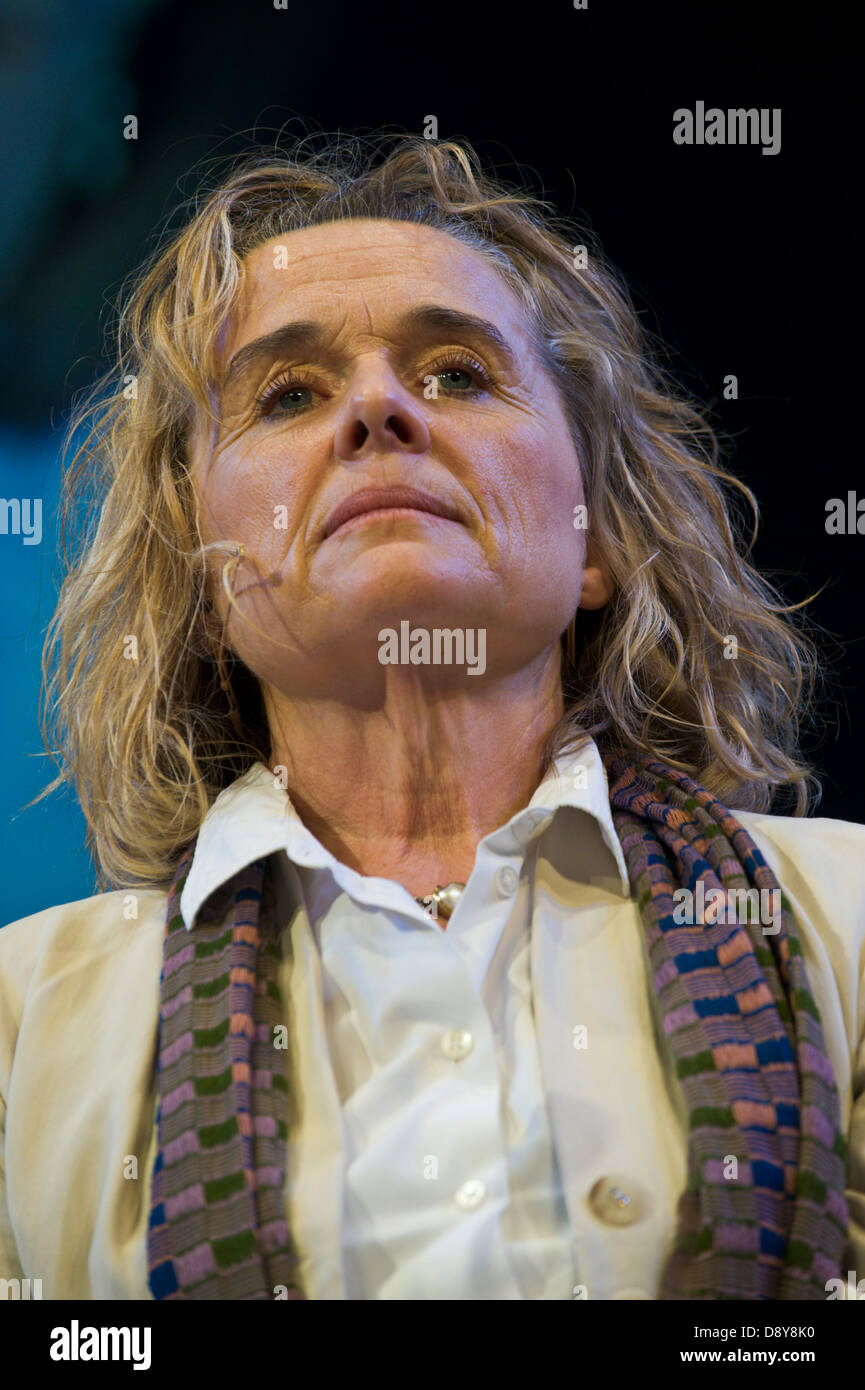 Sinead Cusack reading poetry of The Great War on stage at Hay Festival 2013 Hay on Wye Powys Wales UK - Stock Image