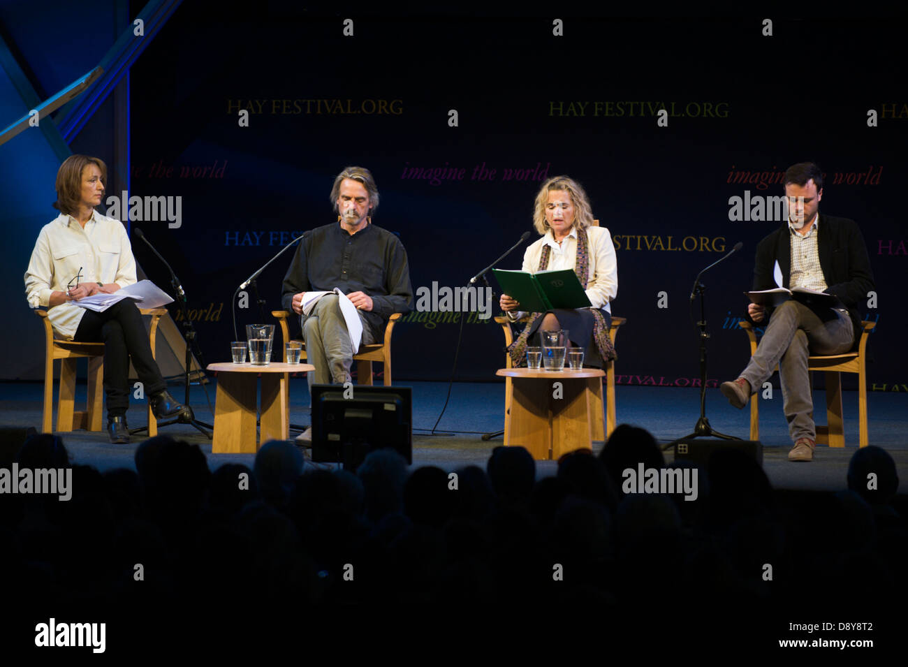 Actors reading poetry of The Great War on stage at Hay Festival 2013 Hay on Wye Powys Wales UK - Stock Image
