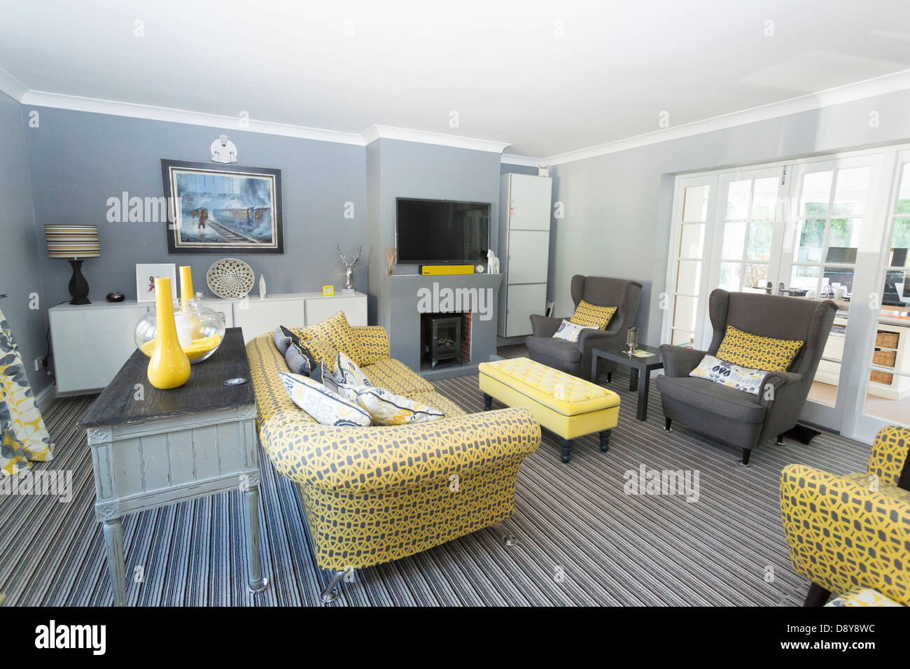 Modern Contemporary Design Domestic Living Room In The Uk Stock Photo Alamy