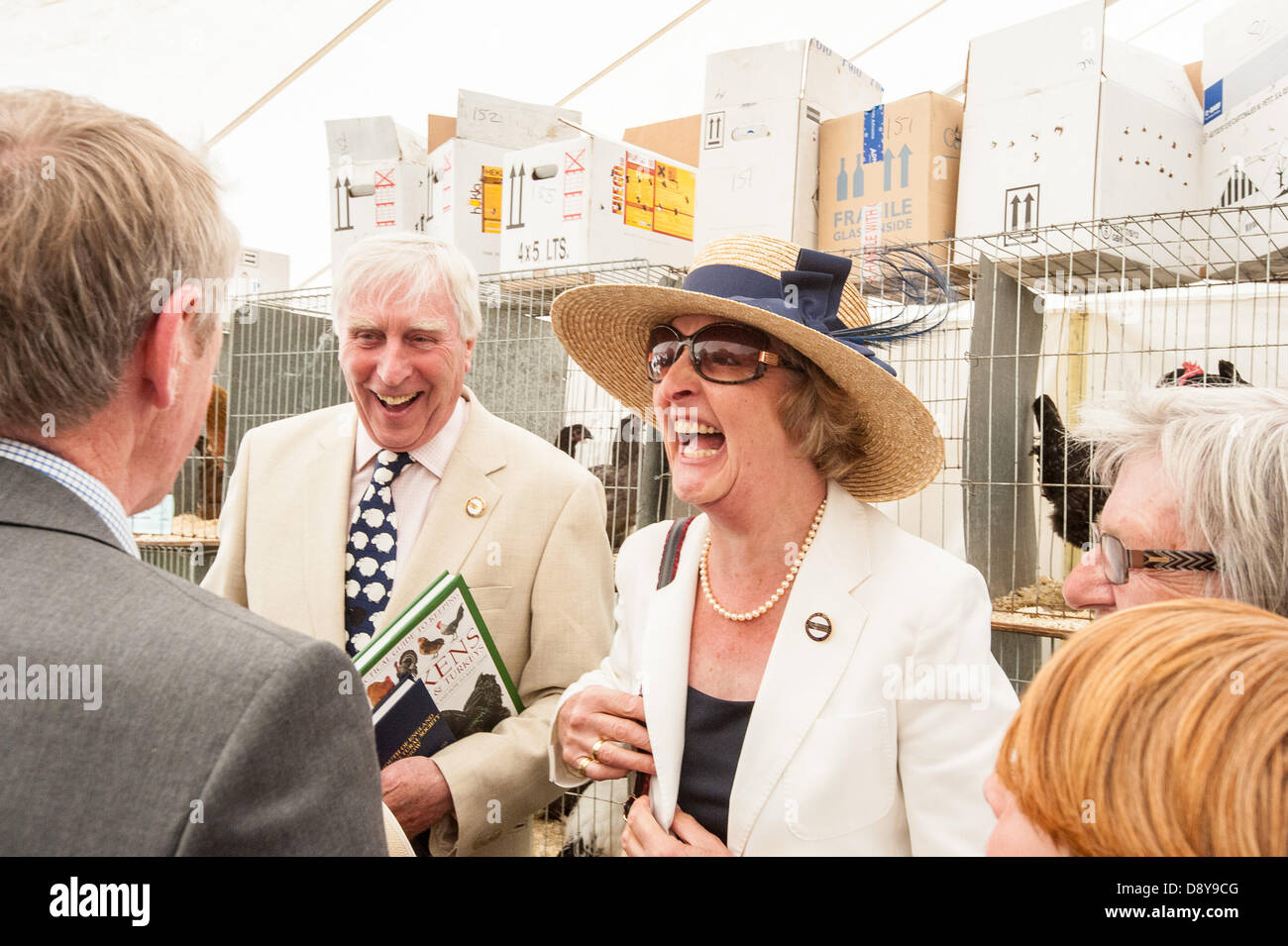Ardingly, UK. 6th June, 2013. In the Feathers marquee Penelope Keith enjoys a chat with mebers of the Arun Valley - Stock Image