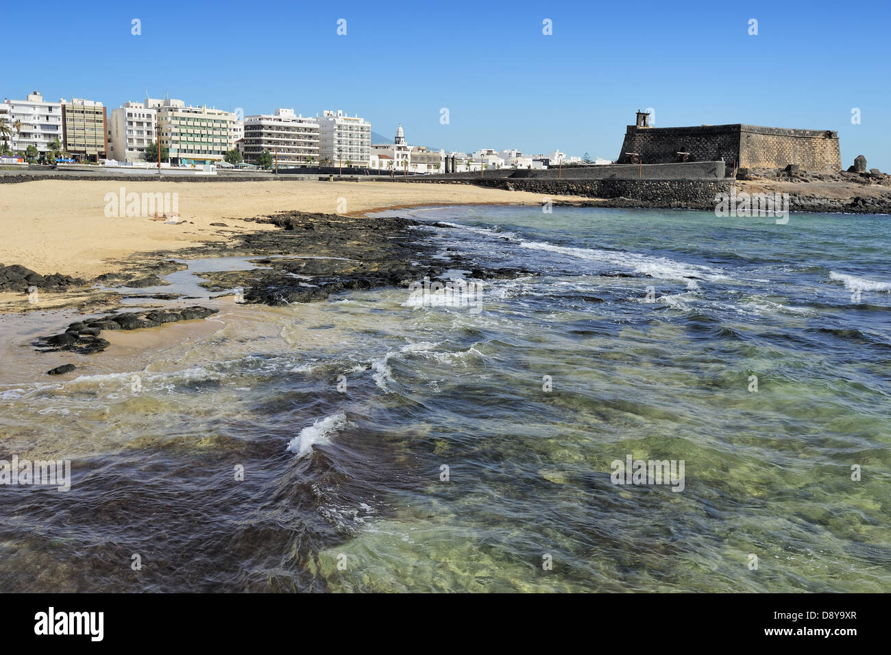 seaview at Arrecife and Castle of San Gabriel, Lanzarote, Canary Islands, Spain - Stock Image