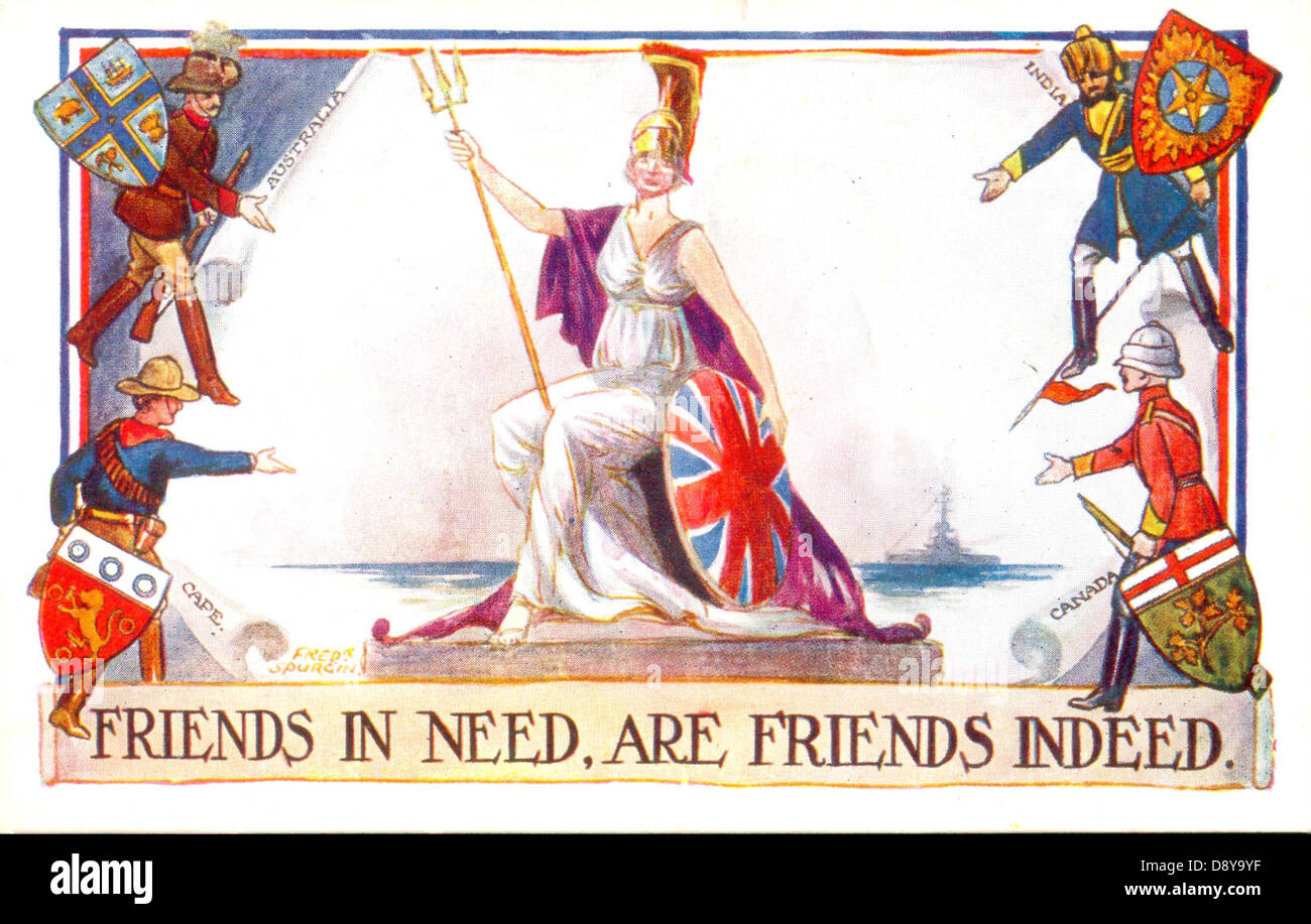 World War One patriotic postcard of Britannia with her Empire friends - Stock Image